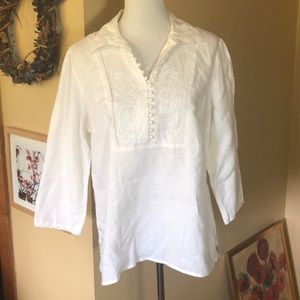 CAROLE LITTLE Size XL Linen Embroidered Tunic NEW
